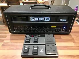 Line 6 HD100 MK2 valve head with express II pedal board