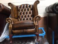 Chesterfield wing chair in antique gold new