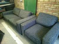 2 seater and 1 seater sofa settee couch grey good condition really comfy £200