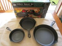 Three piece skillet set brand new in original box by Gourmet's Pride.