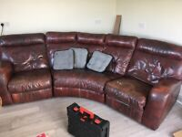 Brown leather reclining corner sofa