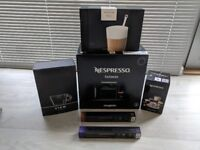 As new Nespresso Coffee Machine, Milk Frother, 180 Coffee Pods and Cappuccino Cups/Saucers