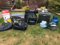 Camping equipment; tent,2x airbeds, electric fridge, cooker and grill