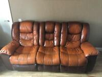 Brown leather 3 seater sofa and matching rocker chair and pouffe