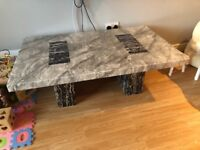Solid marble coffee and lamp table. Mixed colours of black, grey and white