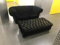 Black velvet chesterfield sofa with storage stool, Free delivery