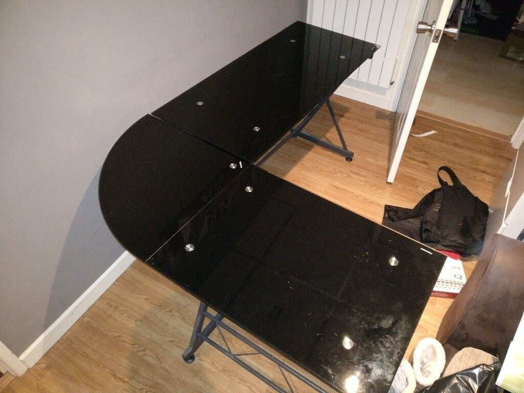 Black Glass Corner Desk