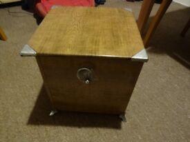Antique Wood and Metal Coal Box