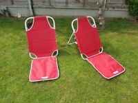 Two lightweight beach / picnic chairs