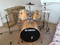 Yamaha Stage Custom Advantage (Natural) with stool and Sabian symbols