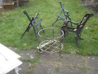 job lot of wrought iron,you get 3 pairs bench ends 1 cart
