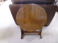 Lovely antique yew wood folding coffee table/fire screen.