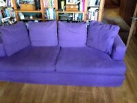 2 x3 seater sofas purple fabric loose covers by Habitat