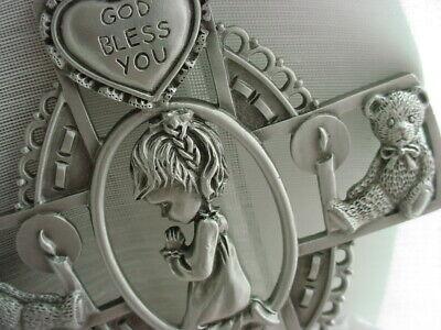 Fine Pewter Cross for Little Girl 5 inch Metal Teddy Bears and Dove Girl Pewter Cross