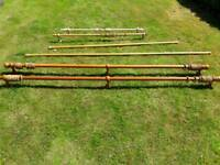 Selection of various wooden curtain poles and fittings .Will separate/combine.