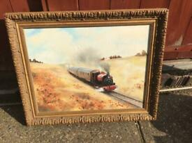 7 pictures of steam trains in various frames, all included in the one price. Collection only. £ 50