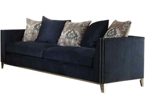 Navy Blue Fabric Sofa Stainless Steel Legs Living Room Home Furniture Sofa Set