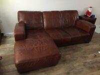 Leather corner sofa dark tan
