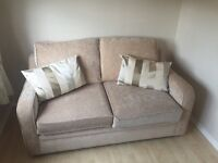 Beige Sofa bed mattress and cushions. 156cm W, 93cm D,90cm H excellent condition, buyer collects.