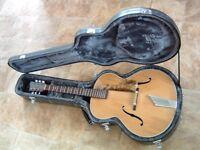 Hofner Senator Archtop Blonde Acoustic Jazz Guitar 1952. With Hard Case.