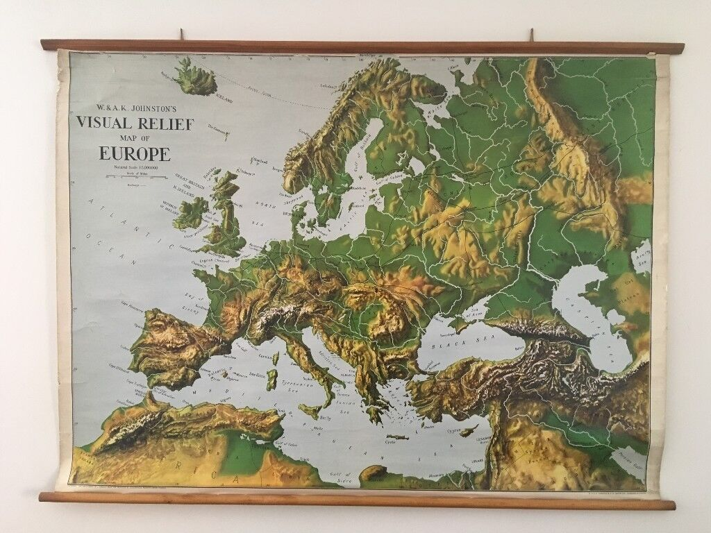 Map Of Europe 1950s.W A K Johnston S Visual Relief Map Of Europe 1950 S Old School