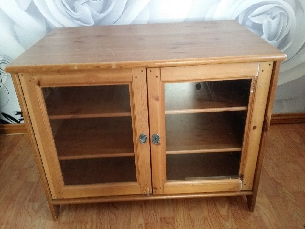 Ikea Wooden Tv Stand Unit Cupboard Cabinet Display With Shelves And Glass Doors