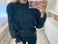 Contrast polka dot overlay frill top
