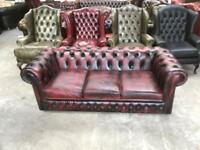 Stunning oxblood leather chesterfield 3 seater sofa UK delivery