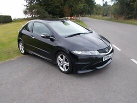 2009 09 HONDA CIVIC 1.8 TYPE S 3 DOOR NIGHT HAWK BLACK MET