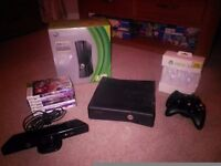 X box 360 250 GB with Kinect, 2 controllers + 7 games. Excellent condition.