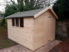 BRAND NEW 10x8ft HEAVY DUTY APEX SHED 2X2 FRAMING FULL TONGUE & GROOVE £650