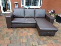 Brown leather corner sofa/sofa bed/ storage unit