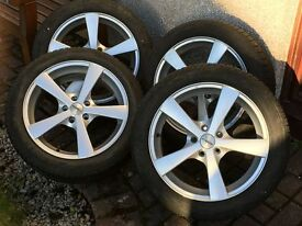 Four 17 inch Dezent Alloy Wheels - 17x7J - with Nokian WR 215/50R17 Winter Tyres