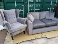 NEW Designer Porto Steel Grey Velvet Wing Armchair + 2 Seater Sofa Set Suite DELIVERY AVAILABLE