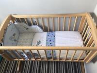 Mothercare swinging crib & extras