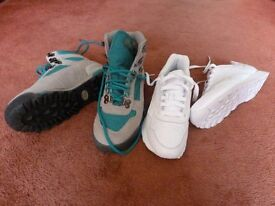 One pair new Reebok trainers and one new pair Vasque walking boots both size 4
