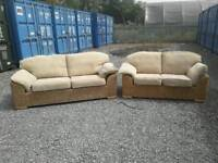 Cane 3 seater + 2 seater sofa
