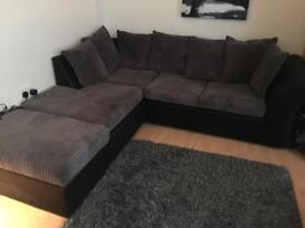 Corner piece sofa with storage foot rest and large love swivel chair
