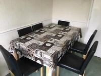 Excellent Oak Wood Dining Table With Six Chairs