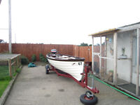 Fishing boat with trailer,oars,6hp yamaha 4stroke outboard and cover