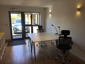 Rent a desk in a modern open plan fully furnished and serviced shared office.