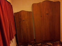 Vintage solid wood walnut wardrobe for a shabby chic project