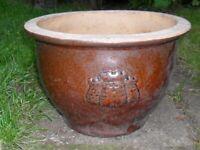 Lovely Glazed Garden Planter Pot with Castle Designs on sides,3.6kg