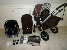 Bugaboo Cameleon Set -Pushchair,Carrycot & Car Seat-Brown with a Designer Hood,Fantastic condition