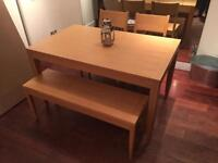 Oak dining room table 2 chairs and bench