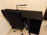 Black desk & Black leather executive armchair - Excellent condition - Free led lamp included