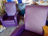 2 Purple Easy chairs