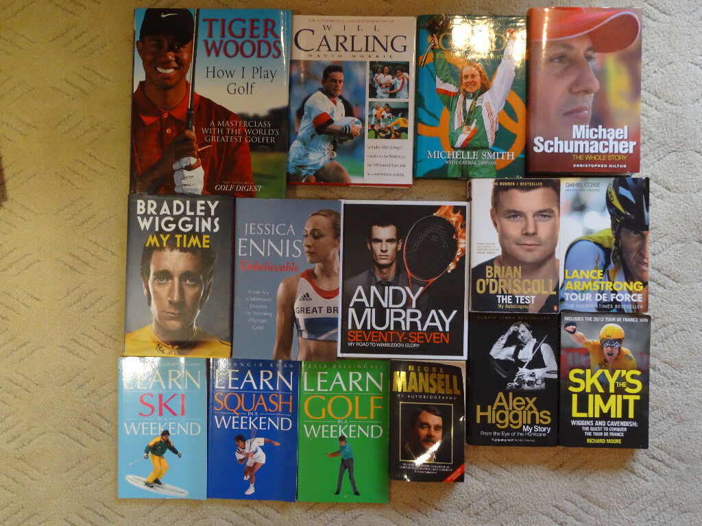 Lots of Sports Books inc. Tiger Woods, Bradley Wiggins, Andy Murray, Jessica Ennis, Brian O'Driscoll