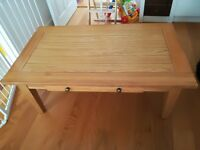 Oak Veneer Coffee Table With Drawer and Bevelled Edges (not solid, pine, walnut)