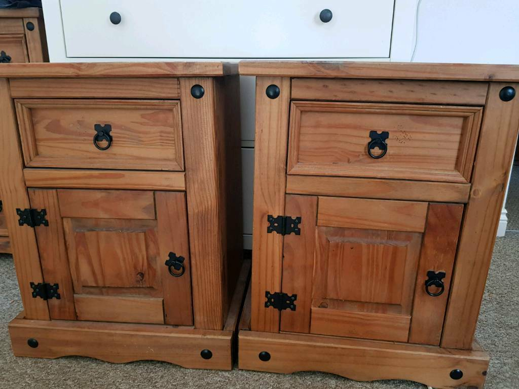 Mexican pine bedside tables/ drawers x2 | in Exeter, Devon | Gumtree
